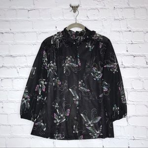 Vintage Black Butterfly Blouse Ruffle Neck Sheer